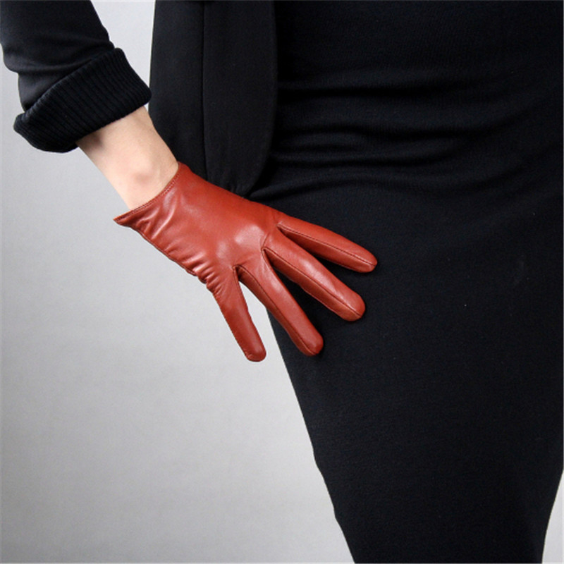 Genuine Leather Pure Sheepskin Ultra Short Caramel Light Brown Clay Brown European Version Of Slim Cut Female Gloves WZP27