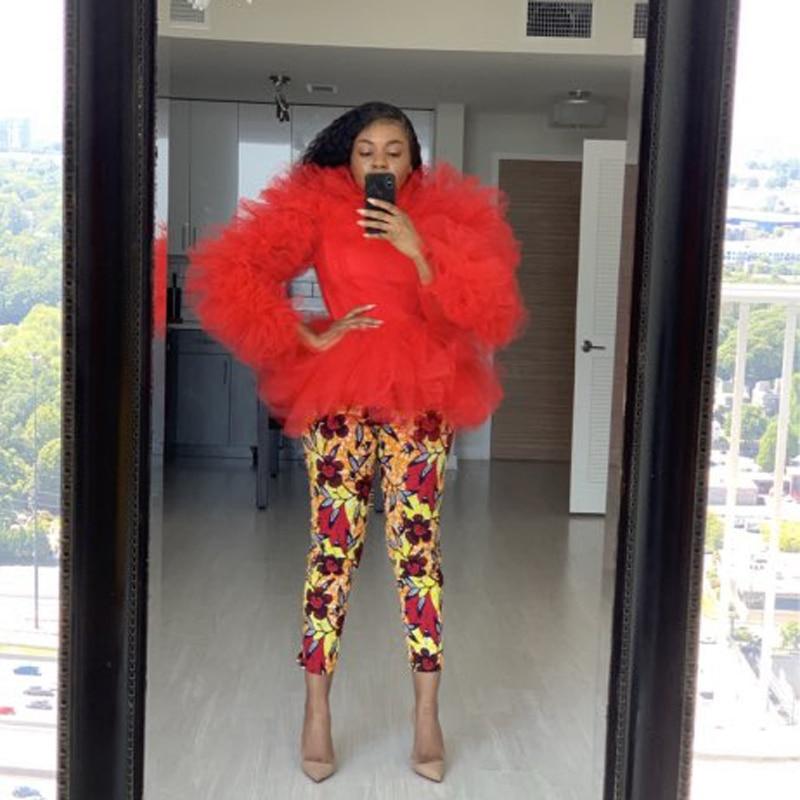 Haut en Tulle rouge à manches longues en Tulle gonflé luxuriant pour fête de bal Robe de soirée