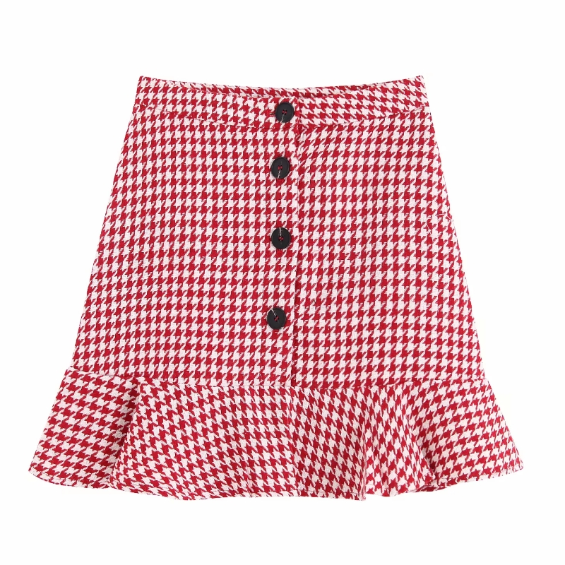 2019 Women High Street Red Plaid Houndstooth Print Hem Ruffles Mini Skirt Faldas Mujer Ladies Single Buttons Chic Skirts QUN409
