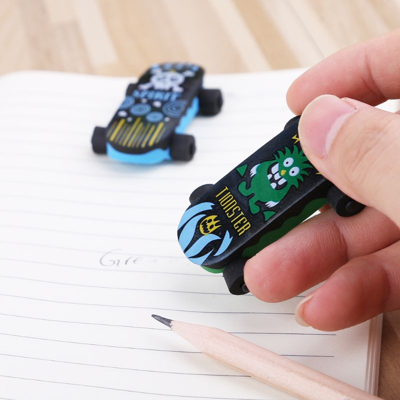 Creative Skateboard Eraser Pencil Rubber Cleaner Stationary Supply Kids Gift Toy LX9A