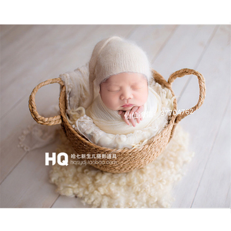 Newborn Photo Prop Basket Infantil Studio Shooting Photo Prop Posing Baby Photography Hand-Woven Auxiliary Frame Props Bebe