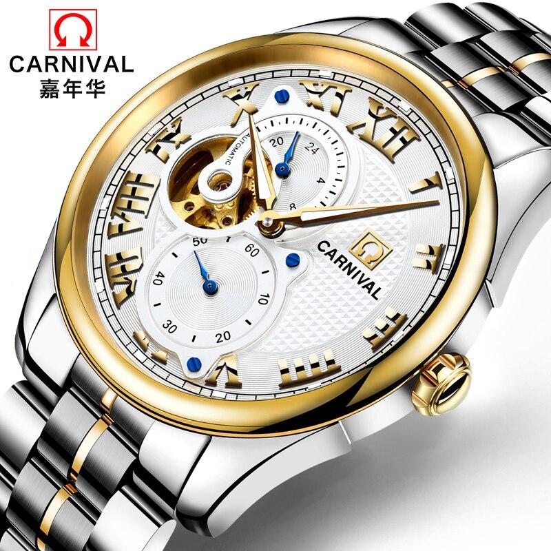 Fashion Business Automatic Watch Men Luxury brand CARNIVAL Multifunction Torubillon Mechanical Watch 24hours Luminous Waterproof-in Mechanical Watches from Watches    1