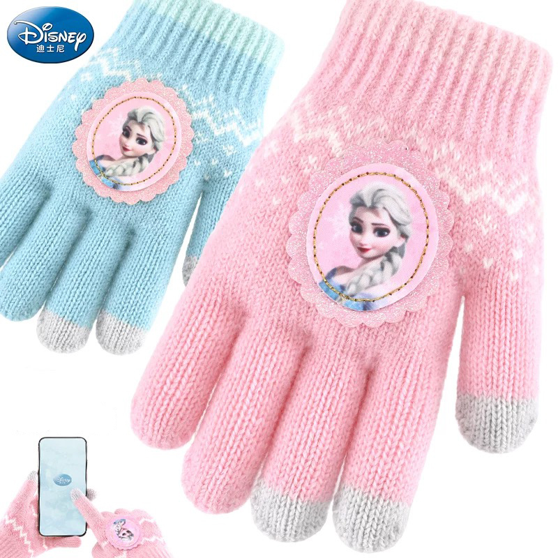 1pc Genuine Disney Children Frozen Cartoon Girls Glove Prince Elsa Five Fingers Half Finger Winter Keep Warm Girl Christmas Gift