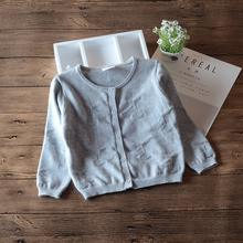 2020 Gray Children Girls Cardigan Sweater Long Sleeve Spring Outerwear Girls Jacket Girls Clothes for 1 2 3 4 Years Old 185064(China)