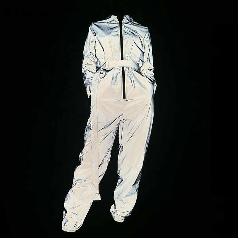 Chicology reflective zipper cinturón lace up mujer fiesta jumpsuit pantalones 2019 Otoño Invierno mujer manga larga ropa de calle
