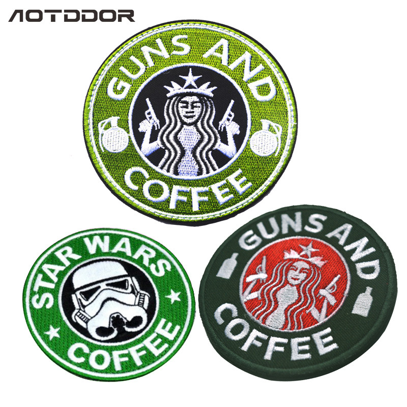 Star Wars Guns And Coffee Double Gun Beauty Cloth Sticker Patch Embroidered Velcro Label