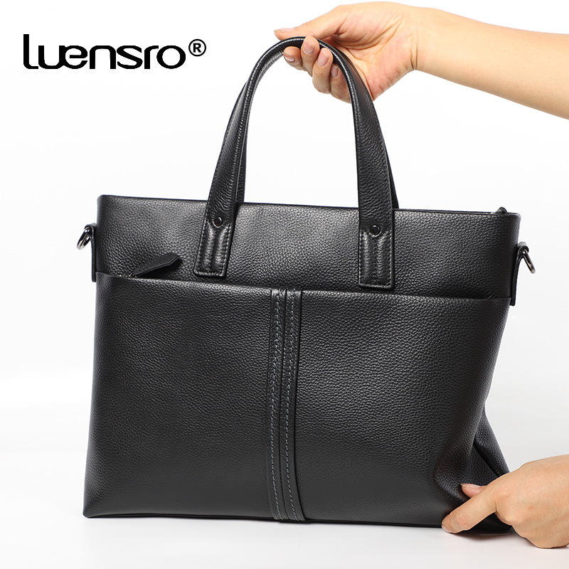 Hot Selling Slim Briefcase Genuine Leather Men Bag Handbag Totes Men's Briefcase Laptop Bag Male Cowhide Leather Shoulder Bags