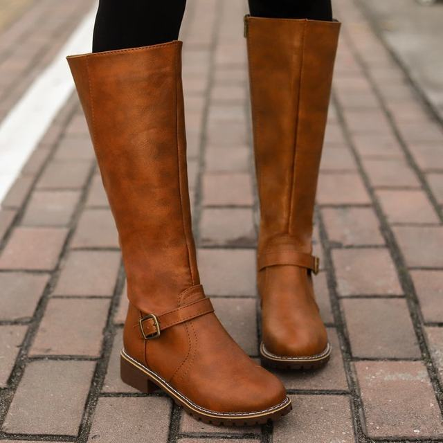 2019 Knees Square Heel Boots Women PU Leather Suede Matte Boots Slip on Zapatos De Mujer Solid Riding Knight Boots Winter Shoes 20