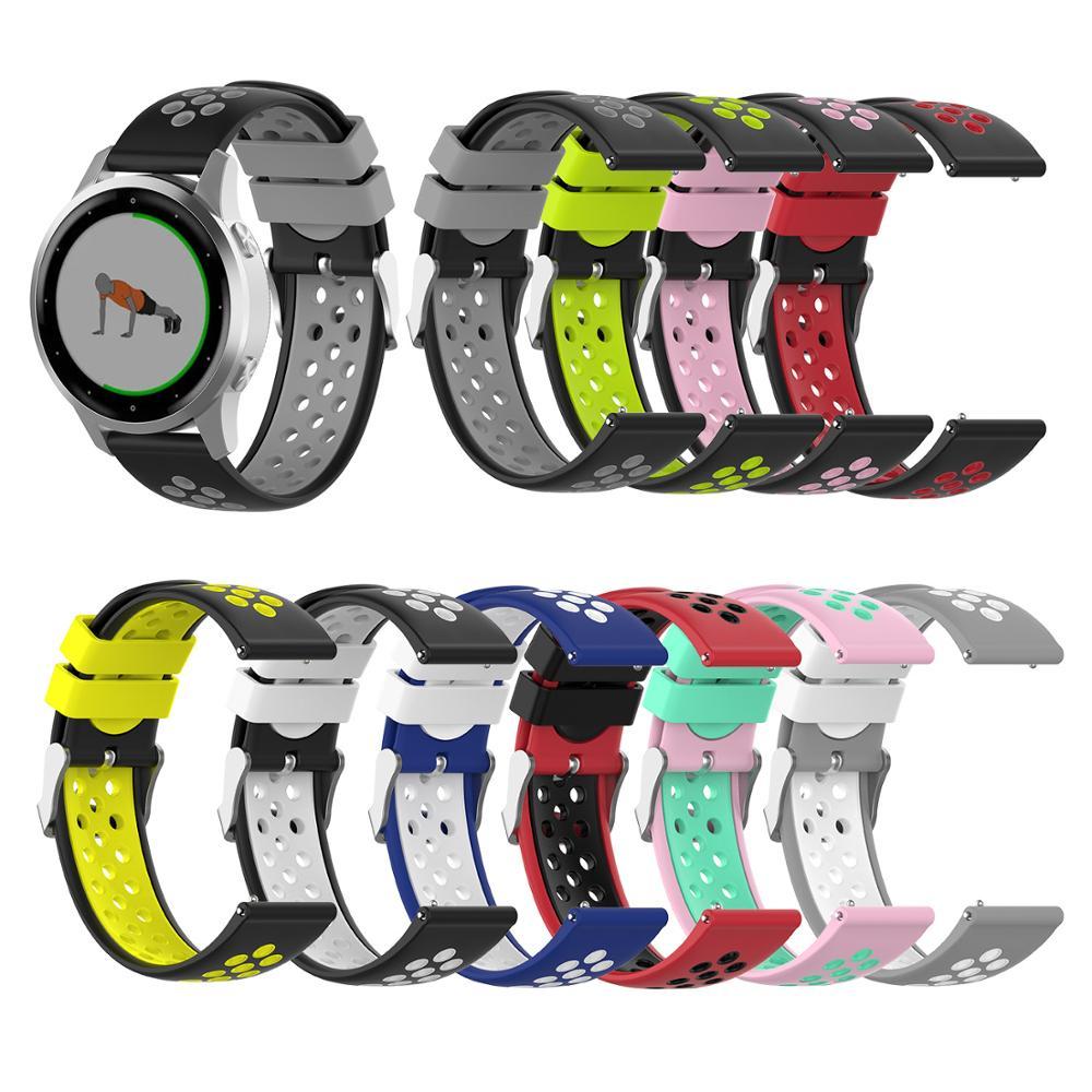 18mm Watch Strap Band For Garmin Vivoactive4s Sport Silicoe Wristband For Garmin Vivoactive 4 Wrist Bracelet 22mm Double Color