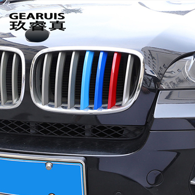 Car Styling For BMW X5 x6 E70 E71 F15 F16 Accessories Head Front Grille For M Sport Stripes Grill Covers Cap Frame Auto Stickers
