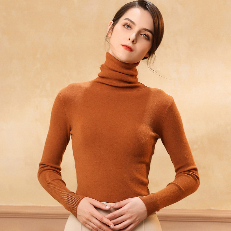 Autumn and Winter New Cashmere Sweater Women High Collar Pullover Fashion Sweater Warm Bottom Sweater 8