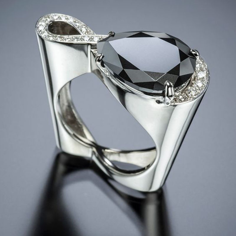 Classic Infinity Crystal Black Water Drop Zircon Stone Wedding Ring Fashion Hollow Heart Silver Color Jewelry for Women Gift image
