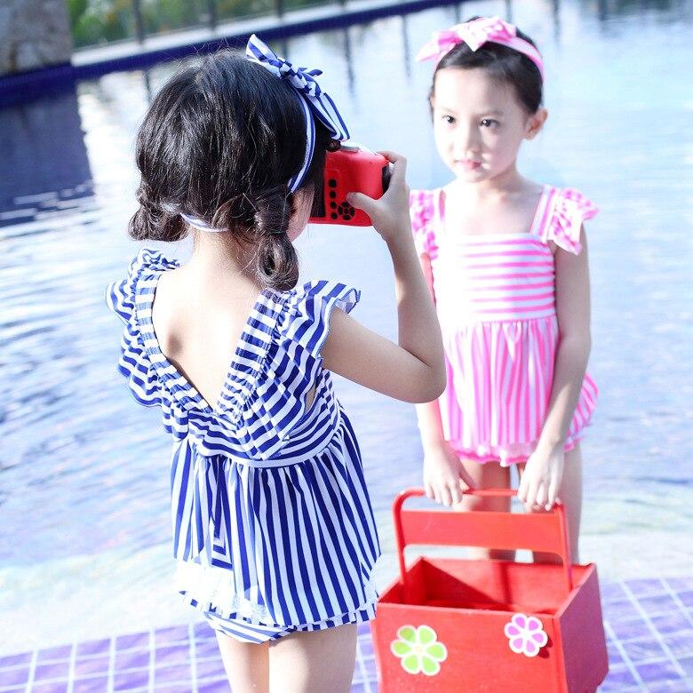 2018 New Style KID'S Swimwear Women's Sweet Stripes Split Type GIRL'S Swimsuit Princess Style CHILDREN'S Swimsuit