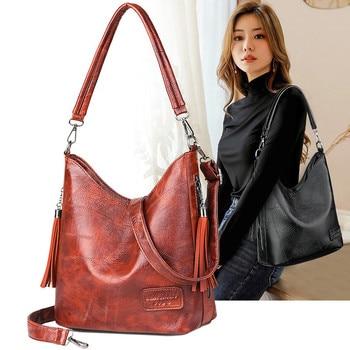 Women Bucket Bag Female Shoulder Bags Large Size Vintage Soft Patchwork Leather Lady Cross Body Handbag for Big Women Hobos Bag