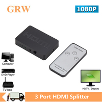 Grwibeou-Divisor HDMI, caja de 3 puertos, interruptor automático, 3 en 1, 1080P, Hd 1,4, Control remoto para Hdtv Xbox360 Ps