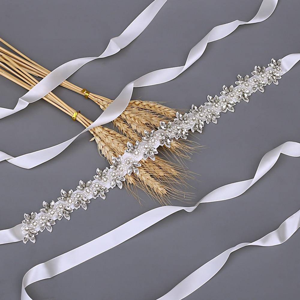 TOPQUEEN Luxury Wedding Accessories Bridal  Belt  For A Wedding Dress Women's Rhinestone Sash Pearl And Rhinestone Trim S275