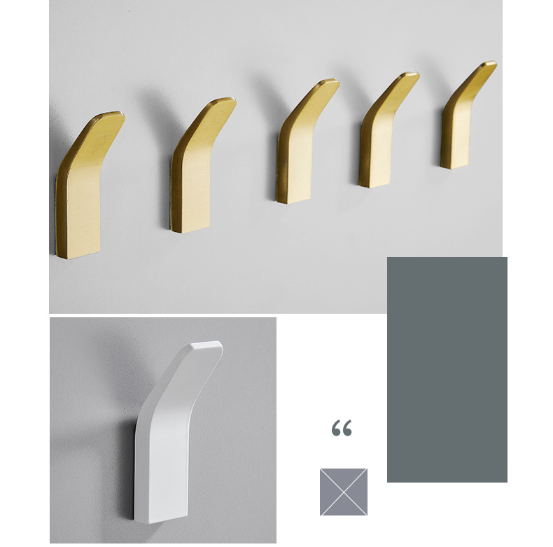 H8f52fff5720640649f989591f161a0b7x - Perforated Black-Free Clothes Hooks Alumimum White Wall Hanging for Bathroom Bedroom Modern Wall Hanger Hook Bath Accessories