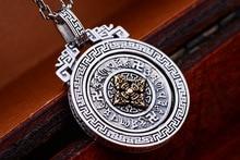 925 Sterling Silver Six Words Pendant Tibetan Dorje Vintage Pure Buddhist Vajra Jewelry Gifts