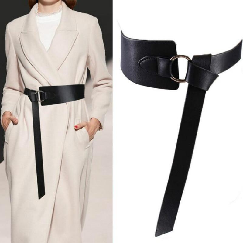 New Black Wide Corset Leather Belt Female Tie Obi Waistband Thin Brown Bow Leisure Belts For Women Wedding Dress Waistband Lady