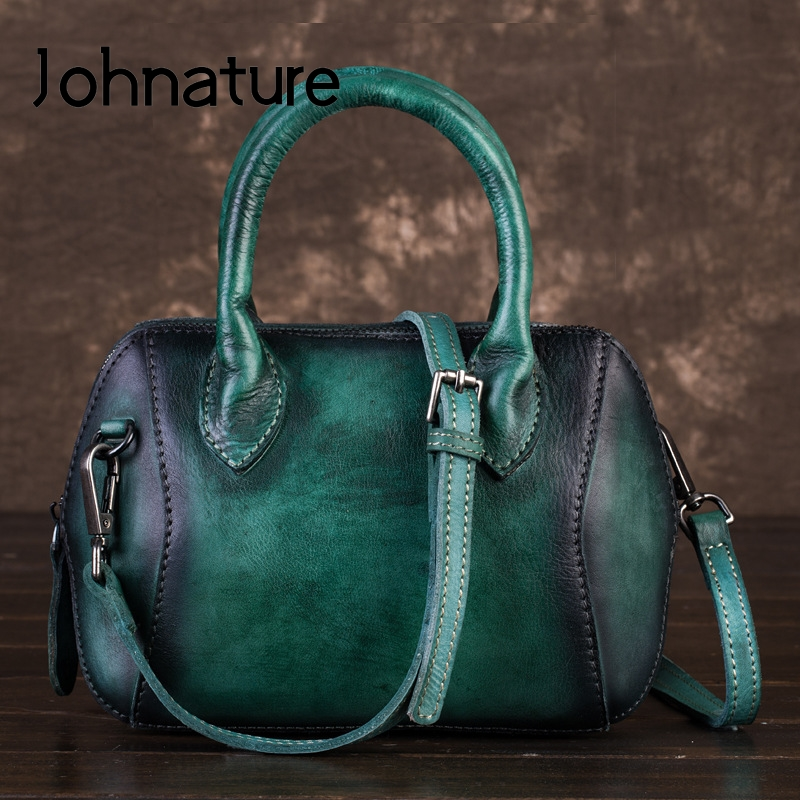 Johnature Retro Small Women Shell Bag 2020 New First Layer Cowhide Leather Handbag Hand Painted Leisure Shoulder Messenger Bag