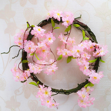 220cm Cherry Blossoms Rattan Sakura Wedding Arch Decoration Vine Artificial Flowers Party Silk Ivy Wall Hanging Garland Wreath
