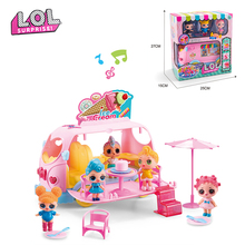 Original LOL surprise Toy Bus with music car and three dolls Anime figure model toy Girl's lol dolls action figures gift DIY toy