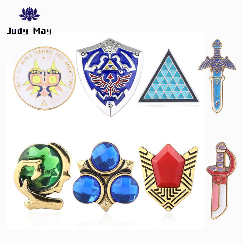 Hot Classic Game The Legend Of Zelda Broches Vintage Oud Zilver Blauw Emaille Pin Triforce Shield Pin Badge Geschenken