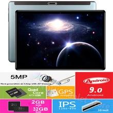 Глобальная версия 10 дюймового планшета, четырехъядерный процессор быстрой зарядки, две камеры 5 МП, Android 9 Pie, 32 ГБ, GPS, Wi Fi, Bluetooth, с бесплатными подарками