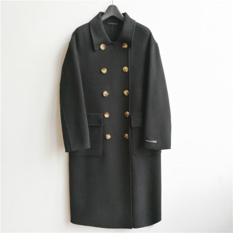 Invierno 2019 nueva moda coreana Casual de gama alta de talla grande suelta doble botonadura negro larga chaqueta de lana caliente de las mujeres - 2