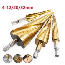 цена на 4-12/20/32mm Metal Drill Bits Hex Shank HSS Spiral Grooved Center Step Drill Bit Titanium Coated Woodworking Tools For Carpentry