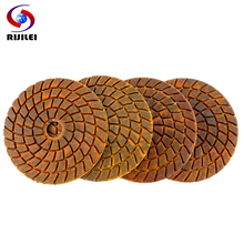 RIJILEI 4PCS 4inch Super Diamond polishing pads 100mm Wet Copper bond polishing pad for granite marble stone Grinding Disc