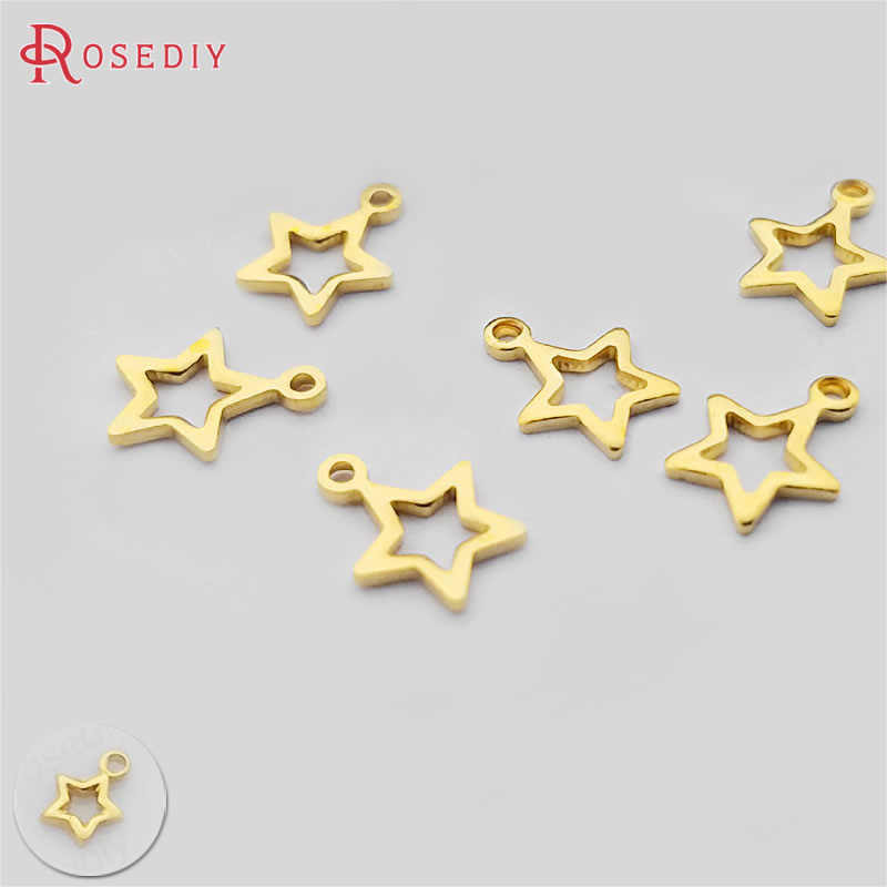 (C152)200 pieces 4mm 6mm Not plated color Brass Small Star Charms Diy Jewelry Findings Accessories Wholesale