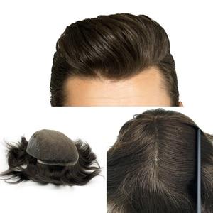 Image 1 - Мужская система для волос Q6 стильные мужские волосы система шнурка волос естественная линия волос Отбеленный узел remy волосы