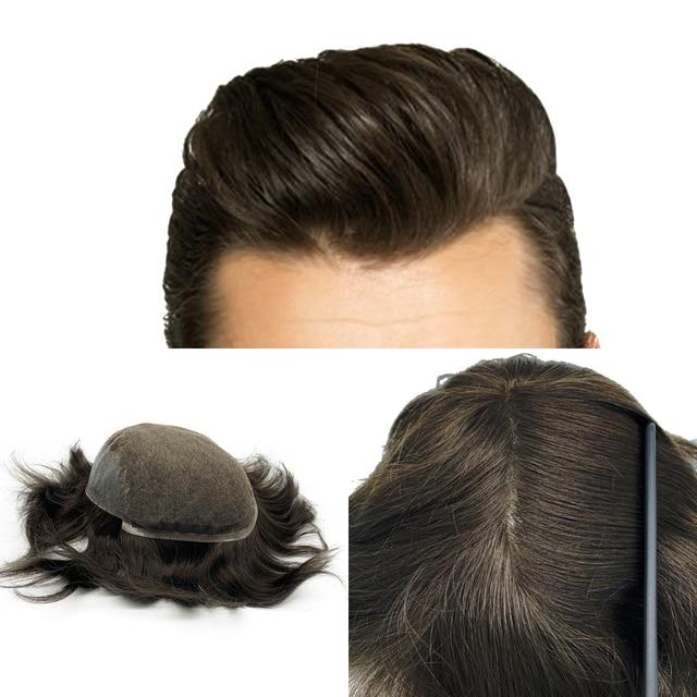 Мужская система для волос Q6 стильные мужские волосы система шнурка волос естественная линия волос Отбеленный узел remy волосы