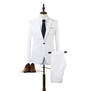 2020 New 2 Pieces Business Blazer+Pants Suit Sets Men Autumn Fashion Solid Slim Wedding Set Vintage Classic Blazer Suit