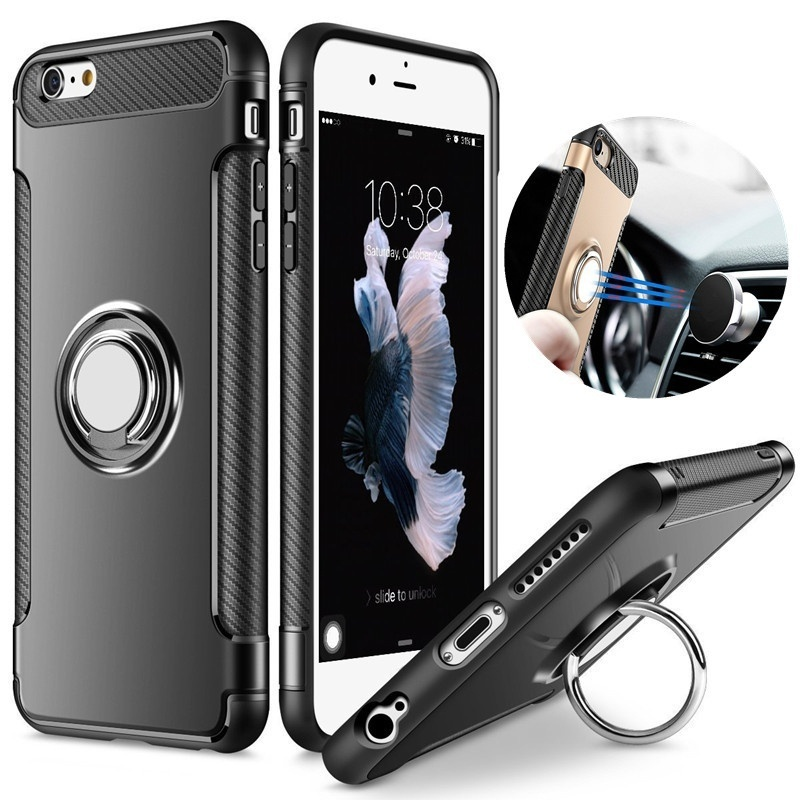 Silicone Edge Hard Back Standing Cover Case With Magnetic Ring for iPhone Models