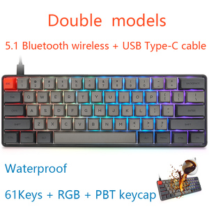 JVH 61Key PBT Mechanical Gaming Keyboard Bluetooth 5.1 Wireless Type-C Wire Double Models Compact Quiet Gray MX Dark Gray D30
