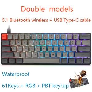 JVH 61Key PBT Механическая игровая клавиатура Bluetooth 5,1 Беспроводная Проводная двухмодельная компактная Тихая серая MX темно-серая D30