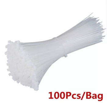 Self-locking plastic nylon tie 100 PCS black and white cable tie fastening ring cable tie zip wraps strap  nylon cable tie self locking plastic nylon tie 100 pcs black zip wraps strap nylon cable tie set 3 100 fastening ring 3x200 loop wire wrap zip