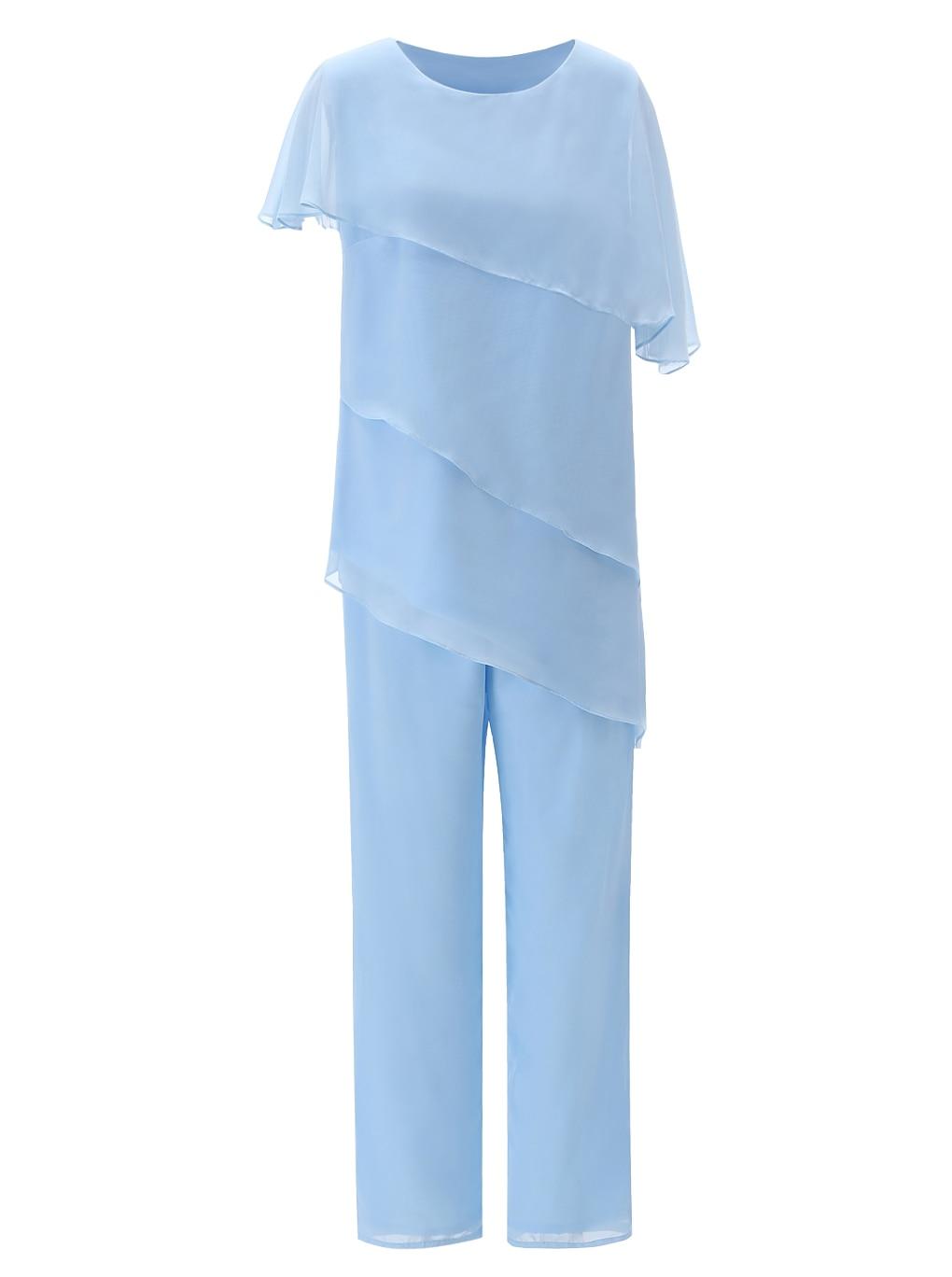 SOLOVEDRESS Women Asymmetrical Chiffon Fashion 2 Pieces Asymmetrical Mother Of The Bride Dress Pant Suits For Wedding SL-M10