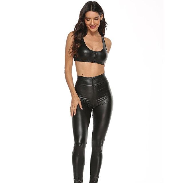 2PCS/Set Sexy PU Zipper Open Crotch Latex Pencil Pants With Vest Shiny Exotic Apparel High Elastic Clubwear Sex Party Costumes 6
