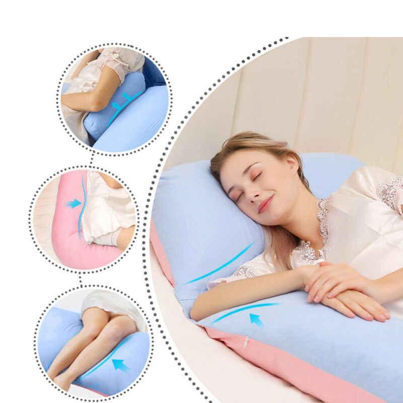 Oreiller de soutien au sommeil pour femmes enceintes | Oreiller en coton et en forme de U solide, oreillers de maternité pour la grossesse, traverses latérales