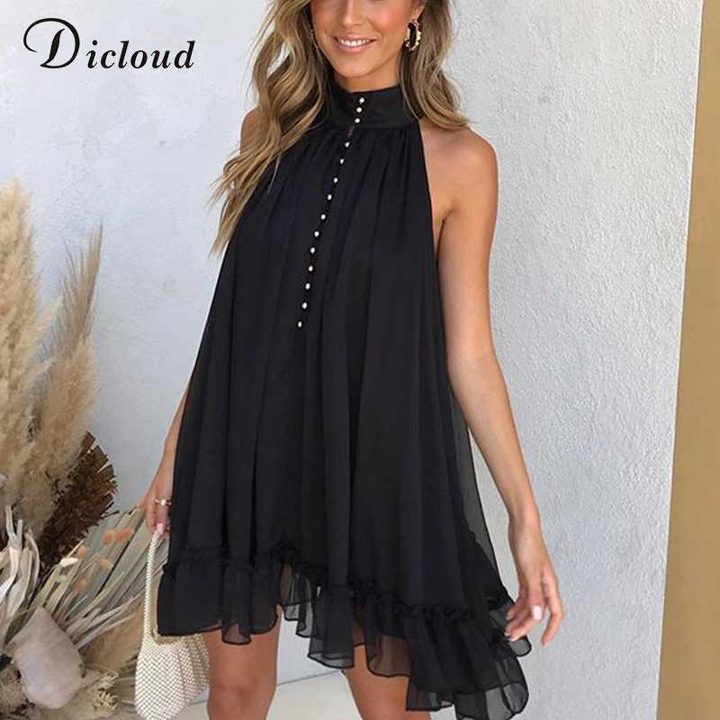 DICLOUD נשים קיץ שחור כפתור למטה קדמי שמלה עם מותן עניבת אלגנטי גבוהה צוואר Loose לפרוע מיני מפלגת שמלות 2020 גבירותיי