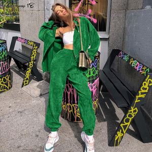 Mnealways18 Vintage Corduroy Autumn Tracksuit Women Loose Jackets And Sweatpants Sets Green 2020 Casual 2 Piece Christmas Outfit