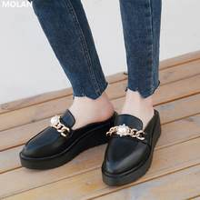 MOLAN Brand Designer 2020 Spring New Luxury Pearl Golden Metal Chain High Platform Heels Leather Shoes Lady Pumps Loafers Casual(China)