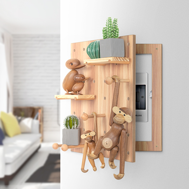 Electric Meter Box Hole Cover Box Wood Decoration Electric Box Distribution Box Creative Solid Wood Frame Hook
