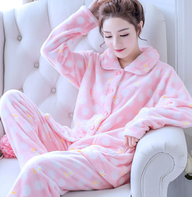 2PCS Pajamas Suit Women Sleepwear Cute Cartoon Casual Sleep Set Thick Pijamas Coral Fleece Winter Warm Nightwear Home Clothing