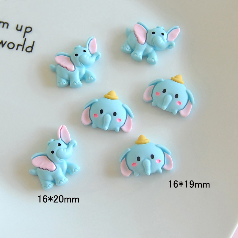 10Pcs Kawaii Blue Elephant Flatback Resin Cabochons Embellishments For Scrapbooking DIY Hair Bows Center Crafts Phone Deco