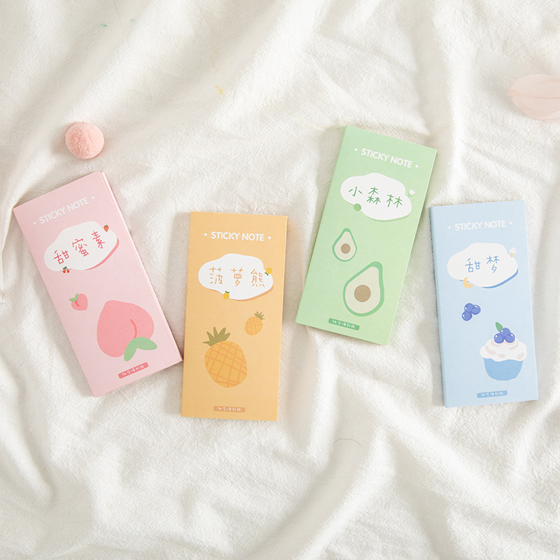 1 Pack Cute Peach Pineapple Avocado Moon And Flower Memo Pad Sticky Notes Paper Writing School Office Supply Notepad Stationery