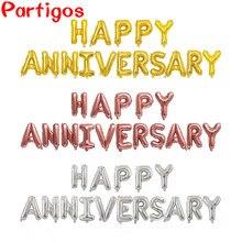 16 pz/set 16 ''HAPPY ANNIVERSARY lettera Banner palloncini Foil palloncino in alluminio anniversario decorazioni per la festa commemorativa Globos